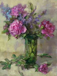 Bernhardt-Peony by Barbara Schilling Oil ~ 26 x 20 Colorful Paintings, Beautiful Paintings, Floral Paintings, Nature Illustration, Sky Art, Still Life Art, Fruit Art, Arte Floral, Pictures To Paint