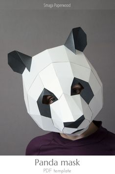 Make a lovely Panda mask, using your home printer and this pdf pattern. There is a video tutorial to make assebling even easier! Personalize your papercraft mask with different paper colors, ornaments and make the best panda bear costume ever! Unique Halloween Costumes, Halloween Masks, Costume Ideas, Paper Face Mask, Low Poly Mask, Bear Mask, Bear Costume, Animal Costumes, Paper Birds