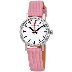 Mondaine Evo Petite Ladies Pink Lizard Watch ($89) ❤ liked on Polyvore featuring jewelry, watches, stainless steel wrist watch, crown jewelry, analog wrist watch, stainless steel watches and water resistant watches