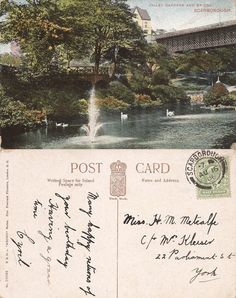 Ramsdale Valley, Scarborough, Yorkshire: Edwardian Postcards Scarborough England, Yorkshire, Postcards, London, London England, Yorkshire Terrier Puppies, Greeting Card