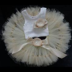 Flower girl dress, Champagne Flower Girl Dress, Tutu, dresses, Weddings, Flowergirl dress, Ivory Dress, Champagne, Gold. $68.95, via Etsy.