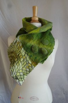 Nuno felted silk scarf neck warmer or collar in shades of green it is reversible ,wool and main piece of silk dyed by me it has machine embroidery