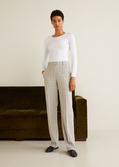 Discover the latest trends in Mango fashion, footwear and accessories. Shop the best outfits for this season at our online store. Trouser Suits, Trousers, Suit Pants, Pantalon Costume, Checker Print, Checked Suit, Cool Outfits, Fashion Outfits, Check Printing