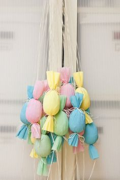 Egg Poppers – Turn your Easter egg hunt into a pull-and-pop party. Hang these candy-filled, candy-shaped poppers from a tree, give each child a color and let them to go to town. Click through to view the whole gallery and more easter egg hunt ideas. Easter Games For Kids, Easter Activities, Crafts For Kids, Kids Diy, Easter Ideas, Fun Activities, Easter Hunt, Easter Party, Easter Eggs