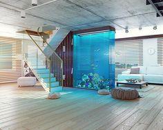 Akwarium - nowy trend wnętrz w stylu nowoczesnym - PLN Design