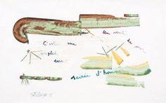 Un vent de mer c'est une peuplade errante sevrée d'hommes. Gouache sur papier. Signée et datée de 1958 en bas à gauche. Contresignée au dos. 48 x 30 cm.