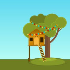 Tree House children's games. vector art illustration