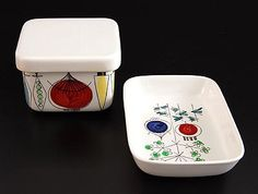 Earthenware covered box bowl Picknick design Marianne Westman 1956 executed by Rörstrand / Sweden