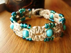 Jewelry OFF! macrame hemp beaded bracelet www. Hemp Jewelry, Jewelry Knots, Macrame Jewelry, Macrame Bracelets, Jewelry Crafts, Diy Hemp Bracelets, Hemp Crafts, Earrings Handmade, Handmade Jewelry