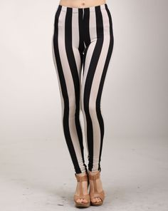Amy says: These are definitely a bold piece, but if you have tall slender legs, wear these babies. They are hot and will make you stand out in a room immediately. Striped Leggings, Amy, How To Make, How To Wear, Babies, Legs, Room, Pants, Fashion