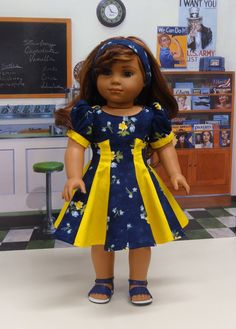 Paneled Rose - vintage style dress for American Girl doll