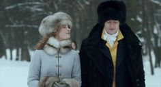 Lily James as Natasha Rostov and James Norton as Andrei Bolkonsky in War & Peace (2016). I love the fur.