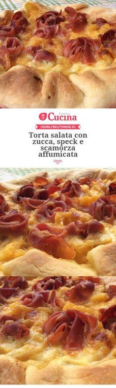Torta salata con zucca, speck e scamorza affumicata