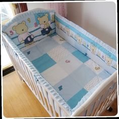 42.80$  Buy here - http://aliqk9.worldwells.pw/go.php?t=32522995697 - Promotion! 6PCS 100% cotton baby cot bedding set of unpick and wash the crib sets ,include:(bumper+sheet+pillow cover)