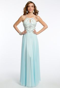 Sequin beaded bodice keyhole halter chiffon dress; back zip  • Sequined chiffon dress •  Beaded bodice • Keyhole neckline • Open back