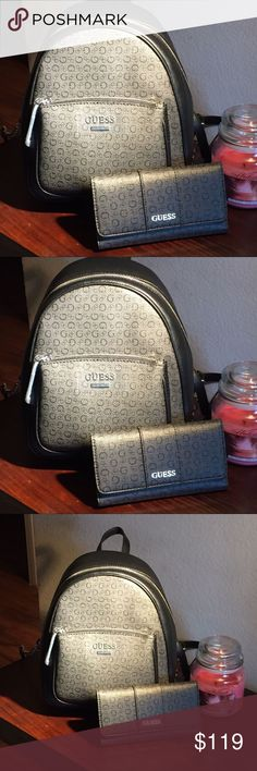 Guess backpack and wallet Guess backpack and wallet /color coal /black and gray Guess Bags Backpacks