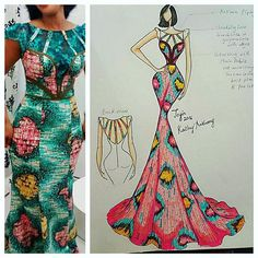 Beautiful Sketch by madam kathy herself... 150 new sketches to choose from..Salah collection loading, new collection loading, back to work loading, #sketch #copicmarkers #copicsketch #ankara #kathyanthonydesigns