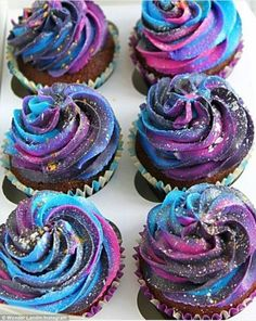 Milky way: Cupcakes have also been made into mini-galaxies using colourful icing (galaxy cupcakes)