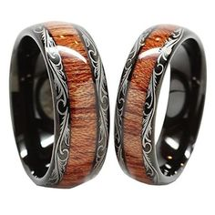 Men & Women\'s Tungsten Carbide Wedding Band Wood Inlay Comfort Fit Ring Set in Jewelry & Watches, Men\'s Jewelry, Rings Wedding Band Sets, Wedding Men, Wedding Church, Gold Wedding, Ring Ring, Wood Inlay Wedding Band, Wedding Jewelry, Wedding Rings, Bijoux Design