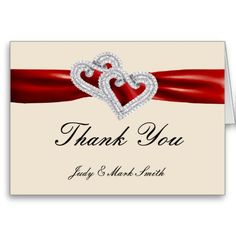 Custom Hearts Red Ribbon Thank You Card http://www.zazzle.com/custom_hearts_red_ribbon_thank_you_card-137688591794158007?rf=238271513374472230  #wedding