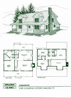 Cimarron - 3 Bed, 2.5 Bath, 2 Stories, 2040 sq. ft., Appalachian Log & Timber Homes, Hybrid Home Floor Plan
