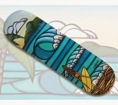 Surf Girl Limited Release Skateboard by Heather Brown and Hawaii Skateboard Company HeatherBrownArt.com #surfart #heatherbrown #surfgirl