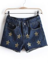 Blue Studded Embroid Star Denim Shorts $27 #sheinside