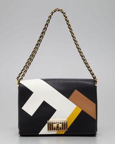 Fendi - Claudia FF Leather Shoulder Bag, Black-Multicolor - http://womenspin.com/handbags/fendi-claudia-ff-leather-shoulder-bag-black-multicolor/
