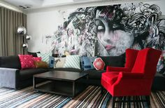 Grafitti wall mural designed, in the livingroom.Beautiful!