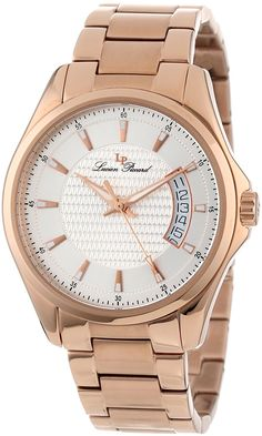 Lucien Piccard Men's 98660-RG-22S Excalibur Silver Textured Dial Rose Gold Ion-Plated Stainless Steel Watch * Check out the watch by visiting the link.