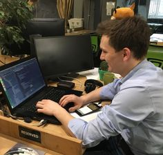 A little fox Bob is helping Anton to debug beautiful #Kotlin code. Yes, Anton is an author of one of the cleanest #Android app architecture we ever had. Together with Halyna Halkina, they created a masterpiece.  Wanna know the details and hear a talk on that? Write in comments if yes) . #uptech #uptechteam #android #cleancode #app
