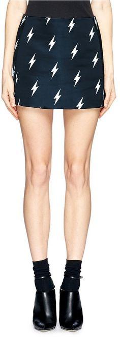 NEIL BARRETT Lightning bolt print satin mini skirt on shopstyle.com    #mini #skirt