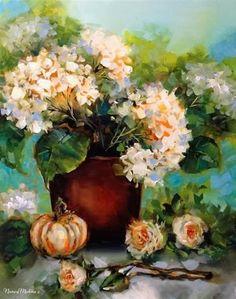 """Fall Ladies White Pumpkin and Hydrangeas by Floral Artist Nancy Medina"" - Original Fine Art for Sale - © Nancy Medina"
