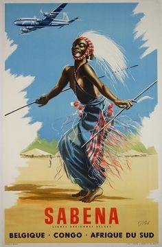Affiche   Sabena    Belgique  Congo  Afrique du Sud  1950  Marcel Cros
