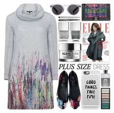 """""""Fall Look: Plus Size Dresses"""" by barbarela11 ❤ liked on Polyvore featuring Twister, Chanel, Casetify, Faber-Castell, Illesteva, GlamGlow, Nails Inc., Gucci and Clé de Peau Beauté"""