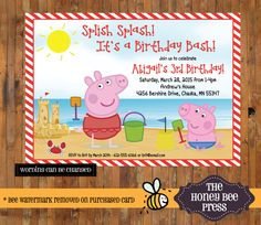 Peppa Pig Birthday invitation - Peppa Pig Pool Party - Splish Spalsh Peppa Pig Beach Invitation - Peppa Pig Pirate Invitation  - Item 0227 by TheHoneyBeePress on Etsy https://www.etsy.com/listing/221845773/peppa-pig-birthday-invitation-peppa-pig