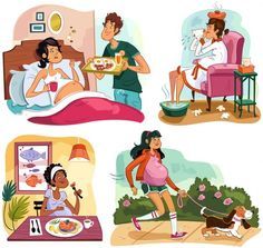 """Pregnancy Quiz Spots"" illustration for client: Today's Parent Magazine by professional illustrator Genevieve Kote @lananavolante"