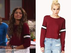 "Cooper (Zendaya Coleman) wears this maroon long sleeved cropped sweater with colorblock stripes on the sleeves in this episode of K. Undercover, ""Give me a K! Buy it HERE Fashion Tv, Fashion Outfits, Fashion Clothes, Teens Clothes, Virtual Fashion, Teen Clothing, Zendaya Outfits, Zendaya Style, Tv Show Outfits"