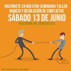 #COMIENZATUCARRERA Inscríbete en nuestro seminario abierto MANEJO Y RESOLUCIÓN DE CONFLICTOS DÍA: SÁBADO 13 DE JUNIO LUGAR DEL EVENTO: Centro de capacitaciones y eventos Florecia DURACIÓN: 8 HORAS INVERSIÓN: $275.00 (CON EL APOYO DEL Instituto Salvadoreño de Formación Profesional-INSAFORP INCLUYE: ALIMENTACIÓN, MATERIALES E IMPUESTOS INFORMACIÓN E INSCRIPCIONES EJECUTIVA DE CUENTAS: VITHIA RAMOS TELEFONO: 2279-5902 E-MAIL: capacitaciones@talentohumano.com.sv
