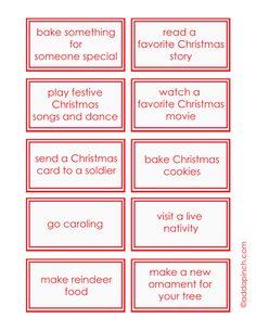 Free Printable Advent Calendar Activity Cards