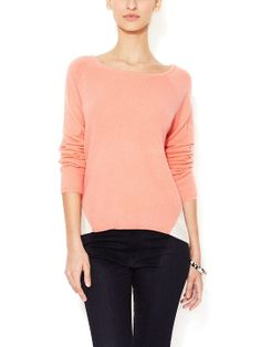 Cashmere Contrast Back Sweater from Tibi on Gilt