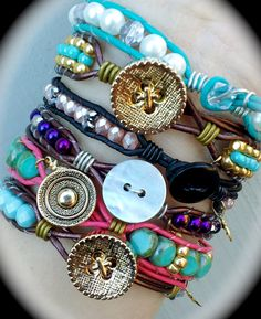 Leather wrap bracelets, made by Dizzy Bees, found on facebook.