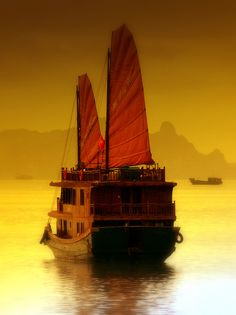 Tourist boat with red sails ... sailing through golden sunset reflected waters ... breathtaking setting ...