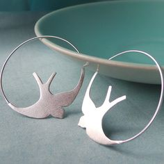 Silver Swallow Hoop Earrings by Martha Jackson Sterling Silver, the perfect gift for Explore more unique gifts in our curated marketplace. Bird Jewelry, Clay Jewelry, Jewelry Art, Jewellery, Bird Earrings, Silver Hoop Earrings, Silver Jewelry, Robins, Silver Lockets