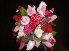 Baby sock bouquet pink roses baby girl baby shower table