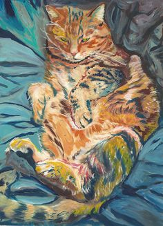 Cat on the duvet,Cat Print, Cat Painting , wall art print, Cat on bed,cat owner,cat lover gift ,animal watercolour, cat picture, cat wallart