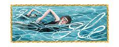 Google Doodles - 130e geboortedag van Mina Wylie Olympic Swimming, Swim Meet, Competitive Swimming, Google Doodles, Swim Caps, Second Child, Art Google, Painting Techniques, Happy Birthday