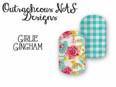 Outracheous custom Jamberry Nail art studio design floral gingham