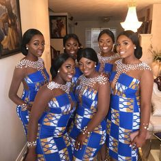 Couple Ditches Glamorous Bridesmaids' Dresses for Unique Traditional Outfits - Wedding Digest Naija<br> Glamorous Bridesmaids Dresses, African Bridesmaid Dresses, African Wedding Attire, African Attire, African Dress, African Weddings, African Traditional Wedding, Traditional Dresses, Kente Dress