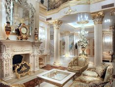 #WhiteandGold Luxury Mansion Interior Decor